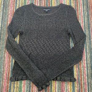 AEO sparkle navy ruffle sweater